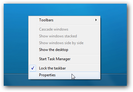 Windows 7 Taskbar Properties Menu