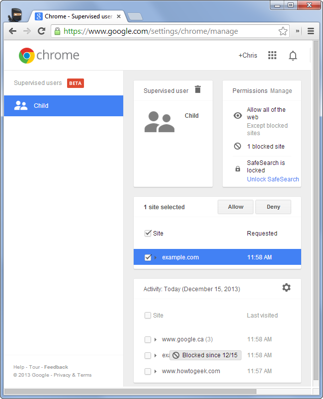 chrome-supervised-users-management-console-page