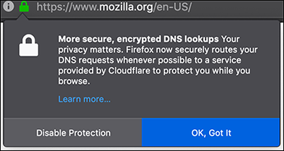 Firefox encrypted DNS lookups via Cloudflare alerts.